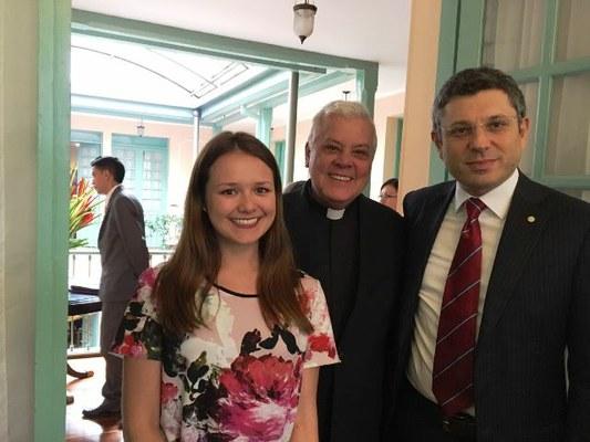 Il Rettore Ubertini con la studentessa Maria Valentina Charry Padilla dell'Università del Rosario